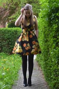 orange and lemon print dress