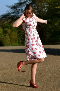 emily and fin strawberry print dress