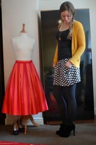 black and white polkadot skirt