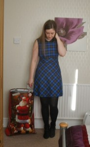 tesco blue tartan dress