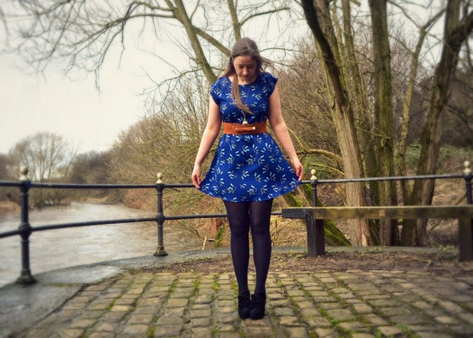 blue butterfly print dress