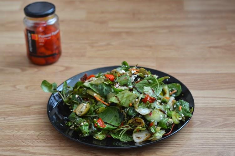 healthy salad, peppadew pincante peppers