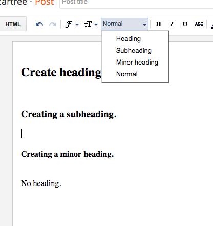 headings in blogger