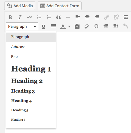 Create headings in wordpress