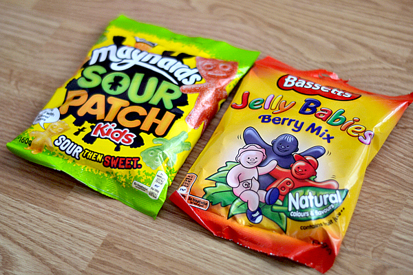 Bassetts Jelly Babies and Maynards Sour Patch Kids