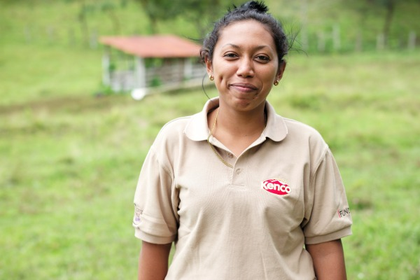 Maria is one of the students in the Kenco supported scheme 'Gangs v Coffee'. It's purpose is to help young people from the Barrios choose an alternative to joining a gang. Coffee farm, Subriana, Honduras.