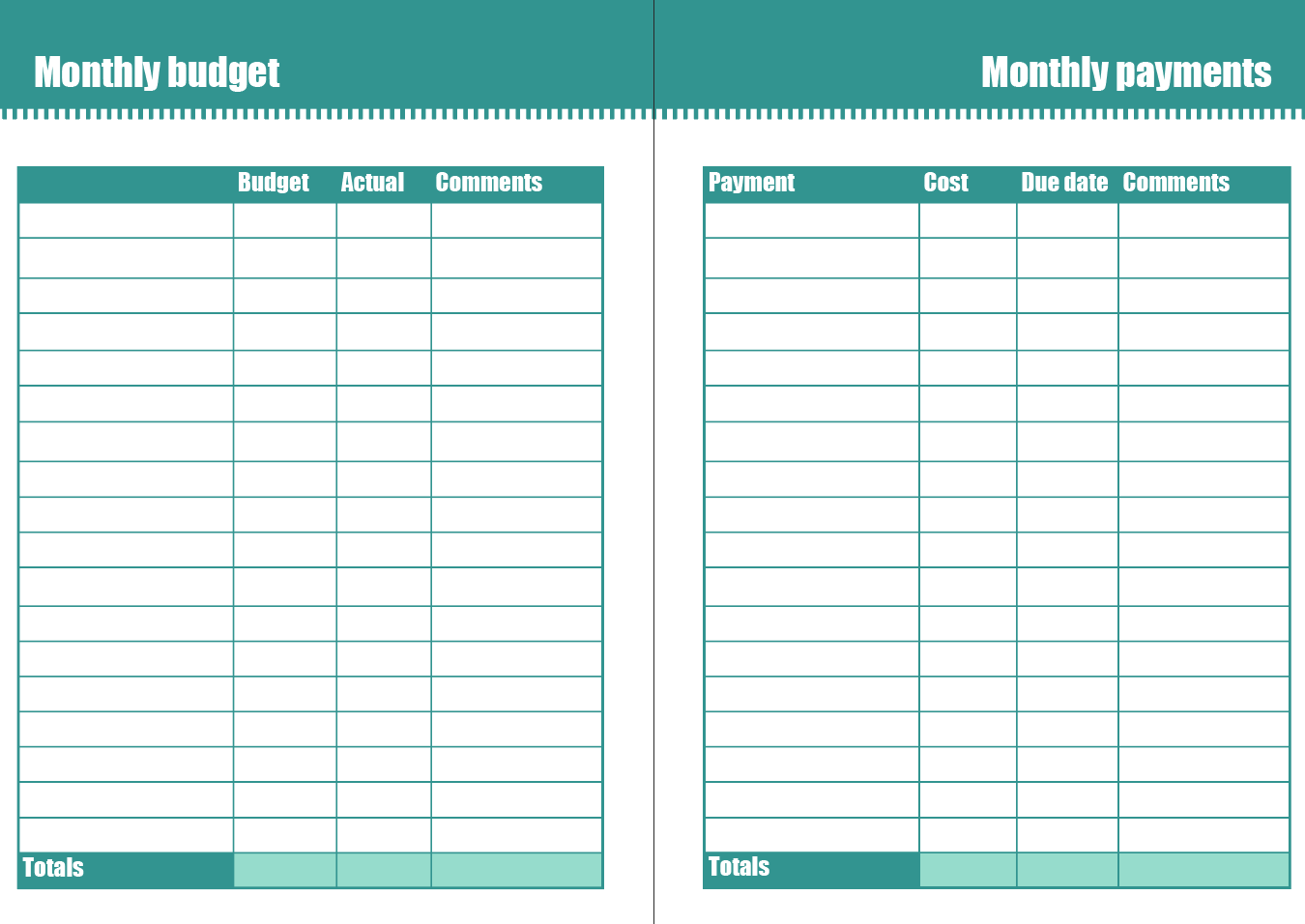 free monthly budget planner