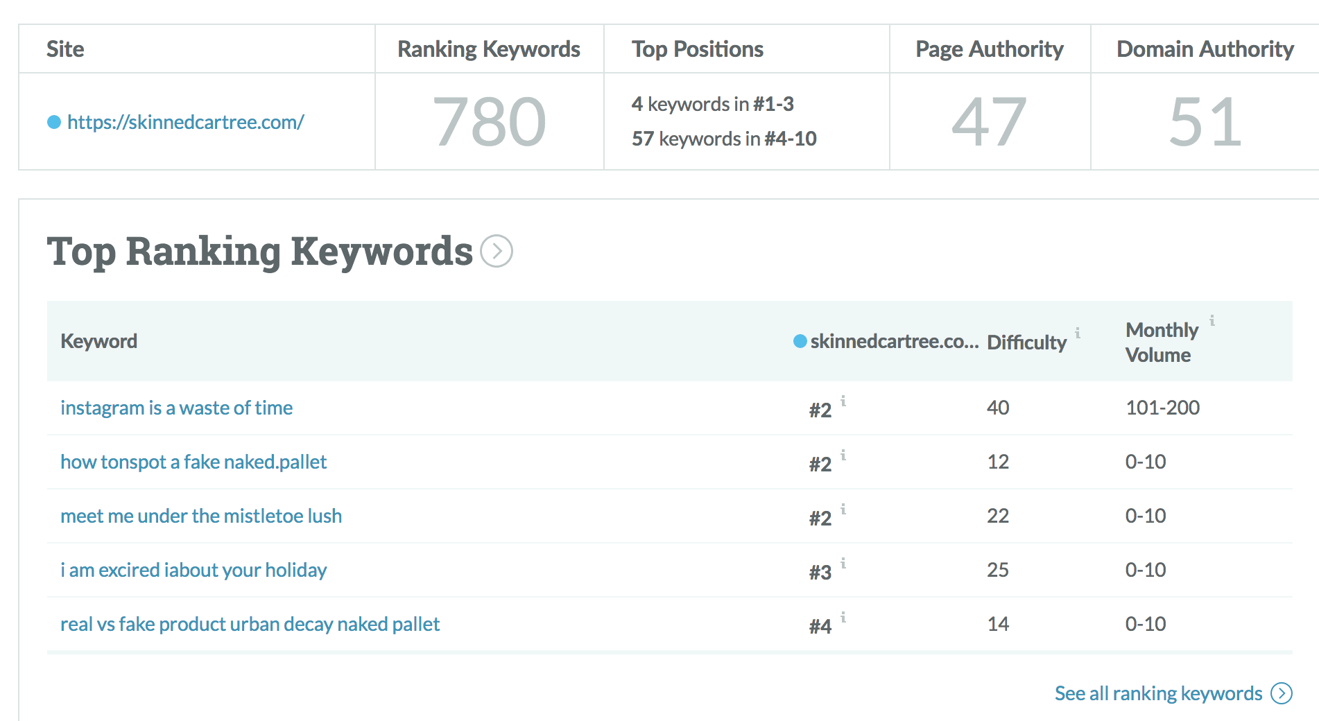 blog seo audit rank keywords