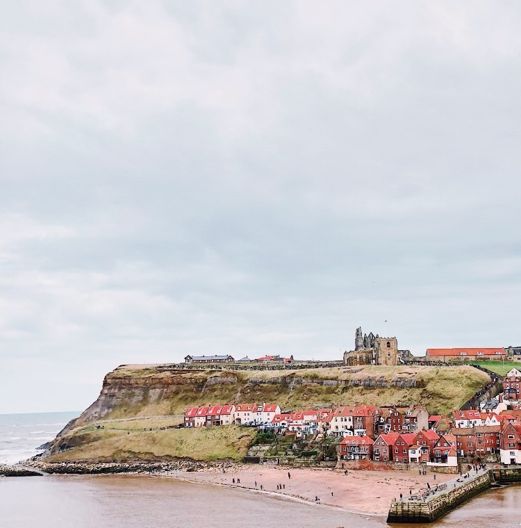 Whitby Abbey seen from a cliff